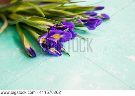 Iris Flowers.bouquet Of Violet Irises On Blue Background With Copy Space. Top View.blooming Iris Flo