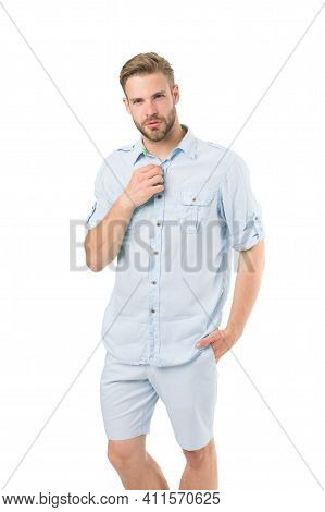 What Man Should Wear First Date. Man Bearded Macho Prepare Clothes For Date. Casual Comfortable Styl