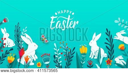 Happy Easter Greeting Frame Banner Background With Paper Cut Bunnies, Flowers, Grass, Butterfly. Min