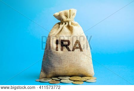 Money Bag With The Word Ira - Individual Retirement Account. Tax-advantaged Account That Individuals