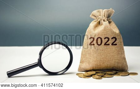 2022 Money Bag And Magnifying Glass. Budget Planning. Financial Goals And Plans. Business And Financ