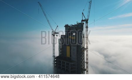 Warsaw, Poland 11.03.2021 Breathtaking View Of The Varso Tower In The Construction Rising Above The