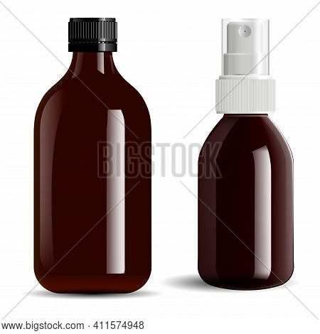 Brown Glass Bottle. Amber Essential Oil Vial Mockup. Screw Cap Apothecary Spray Bottle, Pharmaceutic