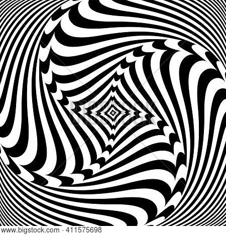 Vortex Circular Rotation Movement Illusion In Abstract Op Art Design. Vector Art.