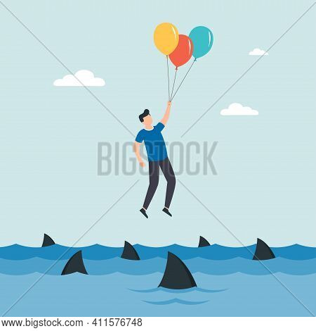Back Up Plan. Businessman Flying With Air Balloons. Obstacle On Road, Financial Crisis. Way To Succe