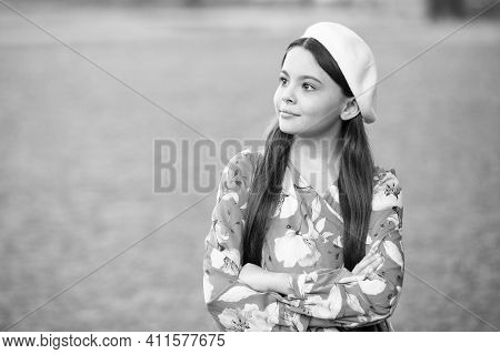 Sophisticated Fashionista Little Girl Wear Beret Hat And Fancy Dress, Fashion Trend Concept.