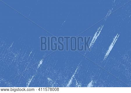 Brushed Blue Paint Cover. Empty Aging Design Element. Grunge Rough Dirty Background. Overlay Aged Gr