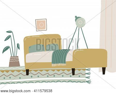 The Interior Of The Bedroom Is In The Scandinavian Style, Boho In Yellow And Green Pastel Colors. Si