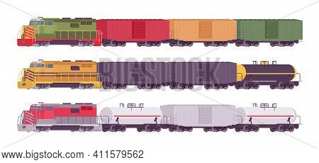 Rail Freight Train Set, Goods Wagons On Railway Transporting Cargo. Varied Color Railroad Shipper, H