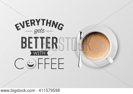 Vector 3d Realistic White Metal Enamel Mug With Foam Coffee - Capuccino, Latte - Isolated. Coffee Cu