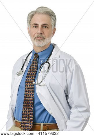 Vertical Shot Of A Friendly Older Male Family Doctor Wearing A White Lap Coat And With A Stethoscope