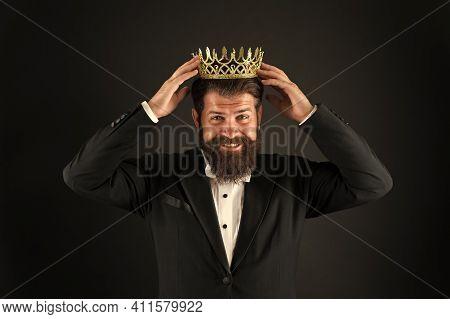 Power And Triumph. Business King. Businessman Wear Crown. Business Success Concept. Glory Seeking Ma
