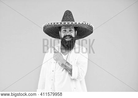 Mexican Day Of The Dead. National Mexico Holiday. Mexican Hat Sombrero And Mustache. Enjoying Summer