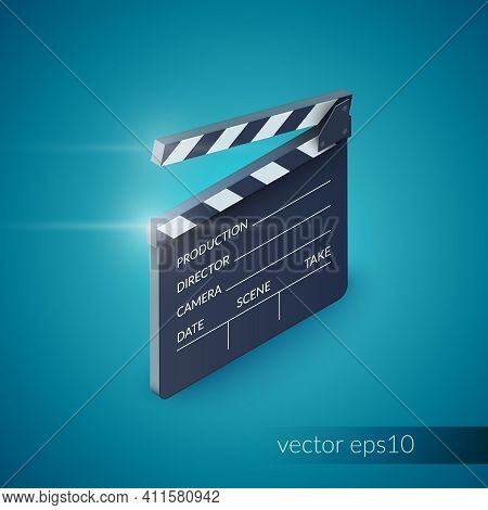 Clapperboard Film Production Industry Equipment Isolated On Blue Background Vector Illustration