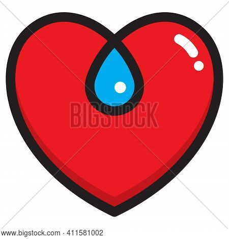 Heart Entwined With Tear Drop Symbol.\nheavy Outline Vector Illustration Of Heart Shape Combined Wit