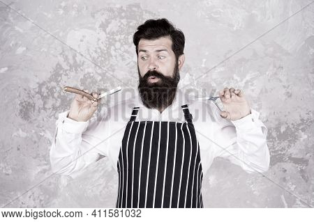 Vintage Barber. Barber In Apron Hold Hairdresser Equipment Blade And Scissors. Male Fashion And Beau