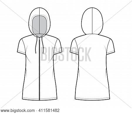 Zip-up Hoody Dress Technical Fashion Illustration With Short Sleeves, Mini Length, Oversized Body, P
