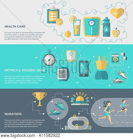 Jogging Banner Horizontal Set With Health Care Metrics Marathon Elements Isolated Vector Illustratio