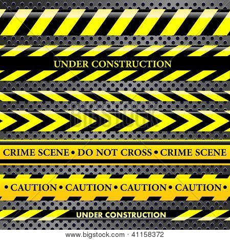 Set Of Danger And Police Lines On Metallic Background