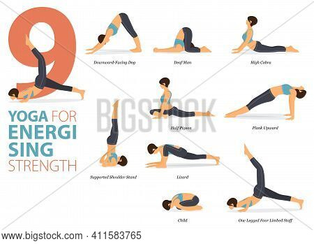 Infographic 9 Yoga Poses For Workout In Concept Of Energising Strength In Flat Design. Women Exercis