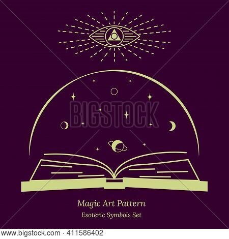 Illustration Of Spiritual Session. Magic Book About Magic, Connection Of Stars, Planets With Destiny