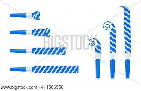 Rolled And Unrolled Party Horns, Noisemakers, Blowers. Striped Blue And Silver Sound Whistles Isolat