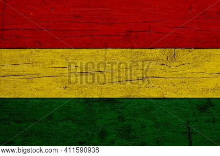 Flag Of Bolivia. Wooden Texture Of The Flag Of Bolivia.