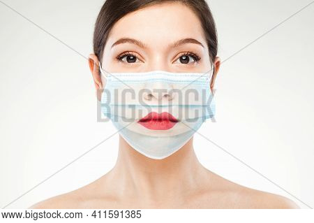Beautiful Caucasian Young Woman Headshot,wearing Transparent Medical Face Mask,covid-19 New Normal C