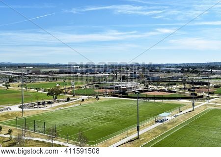 IRVINE, CALIFORNIA - 31 JAN 2020: Aerial view of soccer fields and the Softball Stadium at the Orange County Great Park.