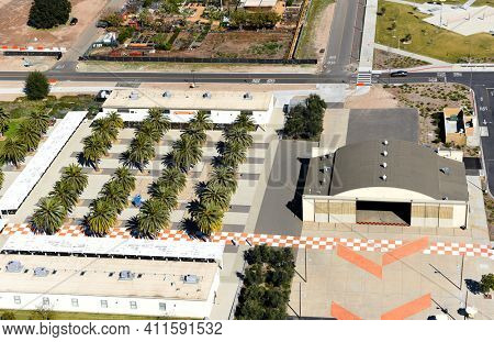 IRVINE, CALIFORNIA - 31 JAN 2020: Aerial View of the Palm Court, hangar and Carousel at the Orange County Great Park
