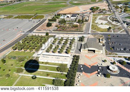 IRVINE, CALIFORNIA - 31 JAN 2020: Aerial View of the Hangar, Carousel and Palm Court at the Orange County Great Park.
