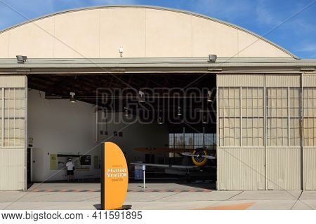 IRVINE, CA - JANUARY 14, 2018: Hangar 244, the former squadron complex hangar has been carefully restored as a special event space.
