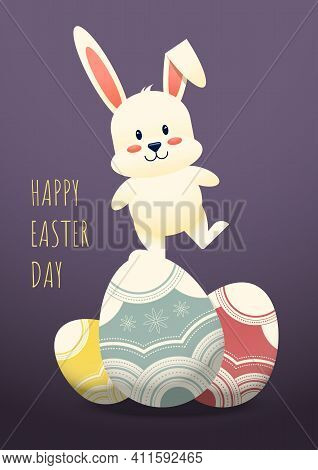 Happy Easter Day Decorative With Rabbit Standing On Fancy Egg, Vector Illustration