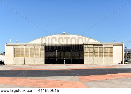 IRVINE, CALIFORNIA - 31 JAN 2020: Hangar at the Orange County Great Park. The building houses the Heritage and Aviation exhibition.