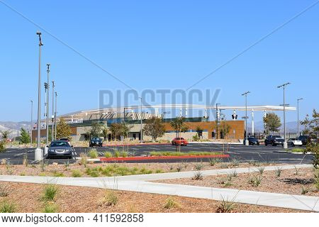 IRVINE, CALIFORNIA, OCTOBER 8, 2017: The Championship Soccer Stadium in the Orange County Great Park. The facility opened in August of 2017.