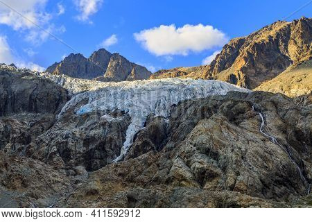 Summer 2019 Image Of The Southern Part Of The Galcier Blanc (2542m) Located In The Ecrins Massif In