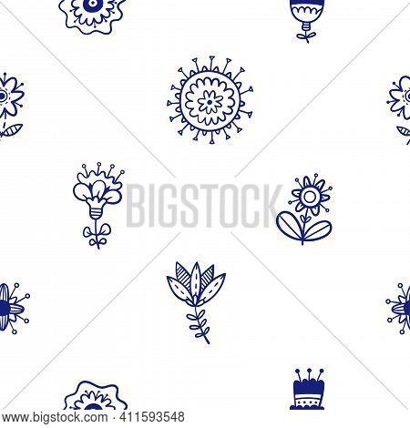 Flower; Floral; Plant; Doodle; Pattern; Seamless; Background; Wallpaper; Ink; Petal; Nature; Natural