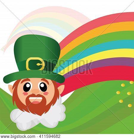 Irish Elf Cartoon And A Rainbow. Saint Patricks Day Illustrattion - Vector