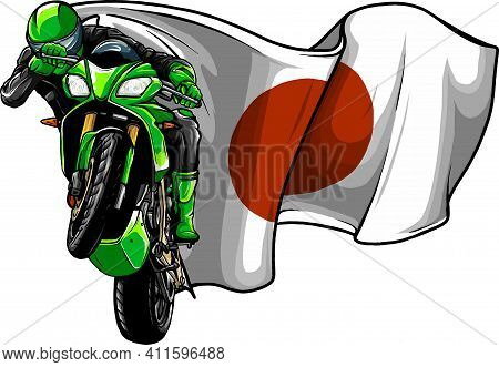 Cornering Motorbike Racer With Japan Flag Vector