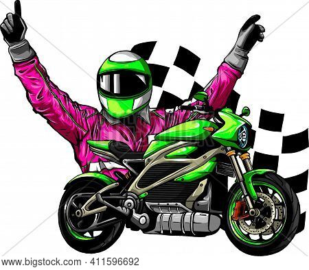 Motorbike Rider With Face Flag Vector Illustration