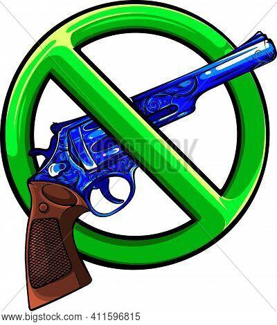 Symbol No Gun On White Background Vector Illustration