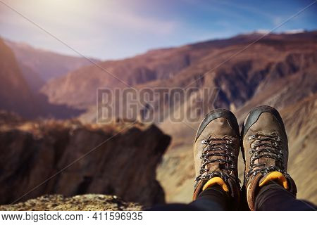 Feet Hiker Relaxing Enjoying View Outdoor. Travel Lifestyle Concept Adventure Vacations Outdoor.