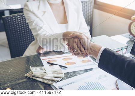 Business People Handshake (shaking Hands) With Partnership Over Office Desk,business Man And Woman G