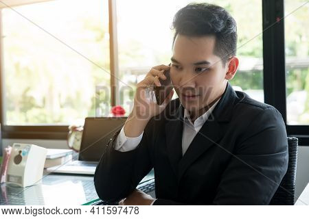 Businessman Talking On Phone, Happy And Smile Face, Negotiating Business.