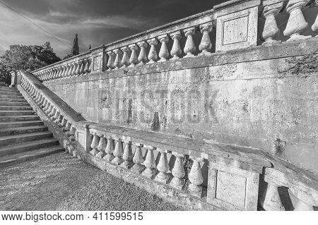 Stone Baroque Baluster And Stairway In Garden