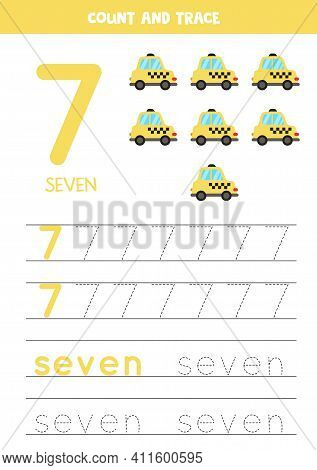 Tracing Numbers Worksheet With Cartoon Taxi Cab.
