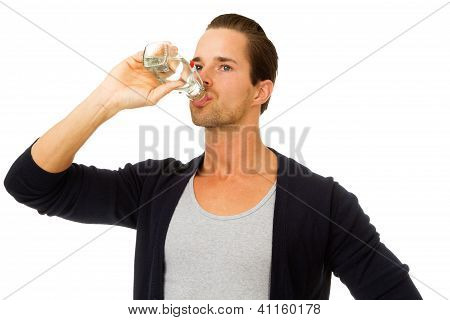 Portrait Of Man Drinking Water