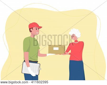 Shopping Online. Free Delivery. Parcel Or Box Delivery Concept. Young Courier Delivery Man Delivers