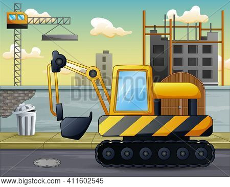 A Excavator In Front Of The Construction Site Illustration