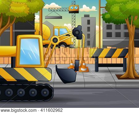 A Excavator In The Construction Site Illustration